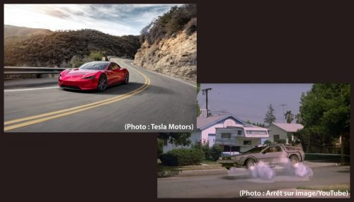 Tesla Roadster et DeLorean