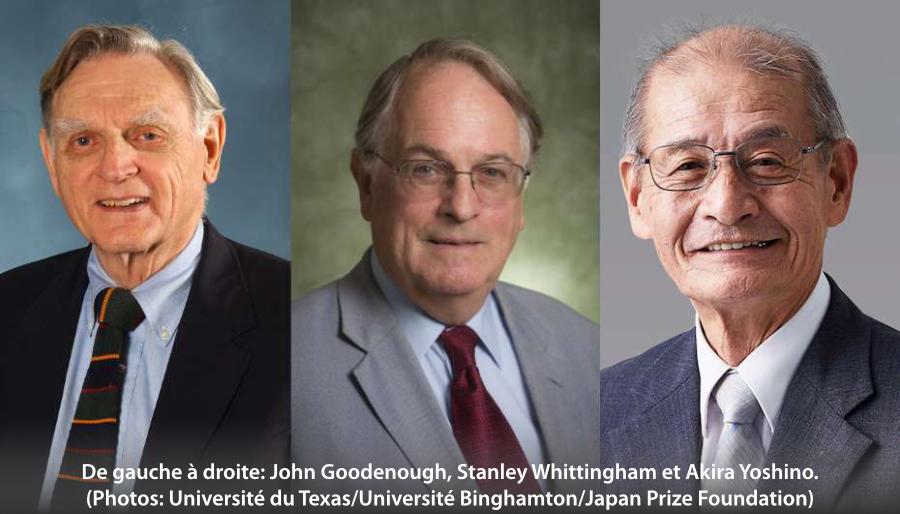 John Goodenough, Stanley Whittingham et Akira Yoshino