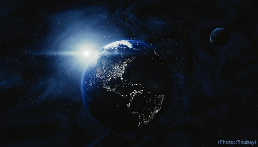 lever de soleil dans l'espace