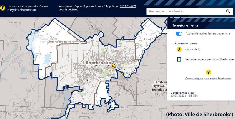 carte interactive d'Hydro-Sherbrooke