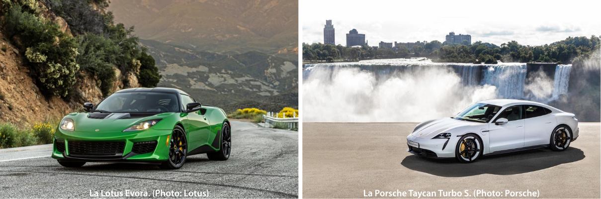 La Lotus Evora et la Porsche Taycan